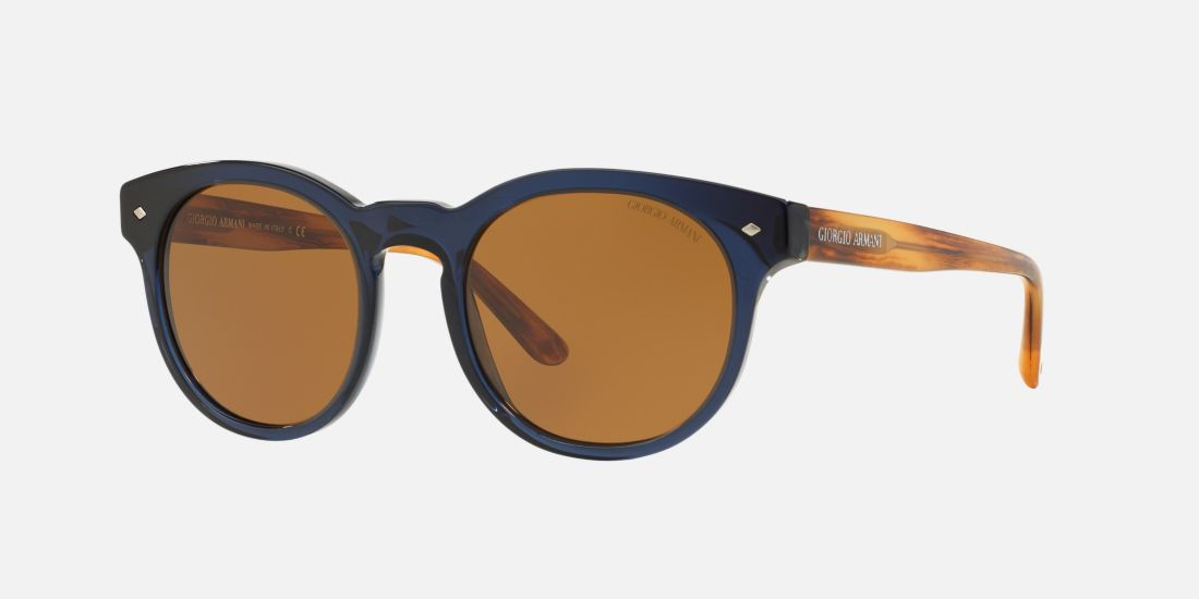Giorgio Armani Brown And Blue Round Sunglasses Best ...