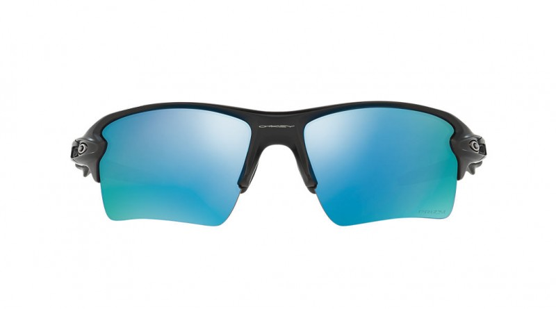 Front of Okaley rectangle blue sunglasses