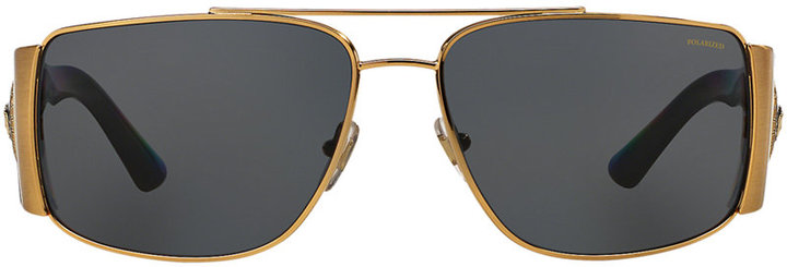Front of Versace black and gold sunglasses