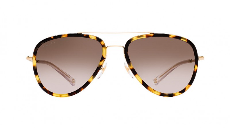 Gucci brown and yellow pilot sunglasses
