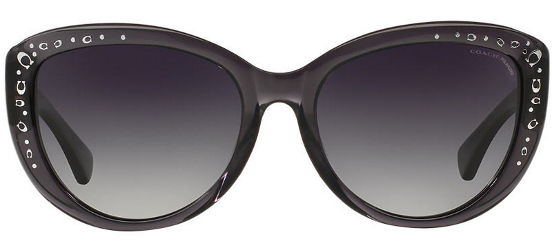 front of Coach grey cat eye sunglasses