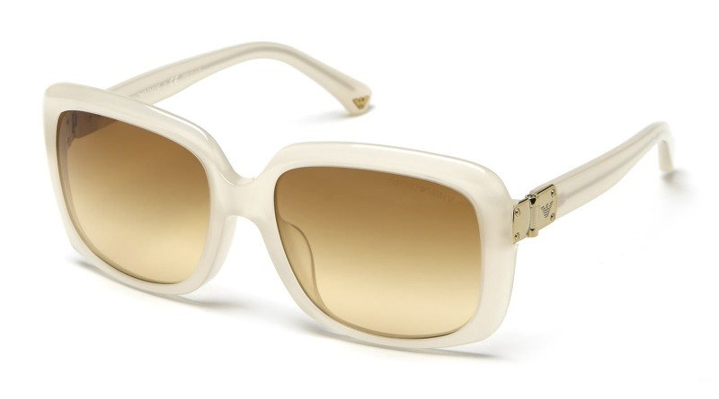 Side of Emporio Armani white frame brown lenses sunglasses 02